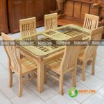 Bộ bàn ghế ăn gỗ sồi Nga 6 người BA01