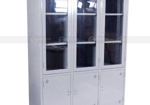 Tủ 3 khoang kính sắt TL03