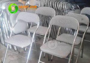 Thanh lý 100 ghế gấp lưng ngắn mạ inox mới 95%