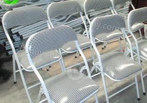 Thanh lý ghế gấp chân sắt lưng ngắn caro