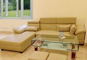 Sofa da gật gù màu xanh kem SFL-D-07