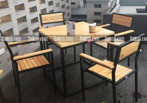 Bàn ghế cafe gỗ GCF1