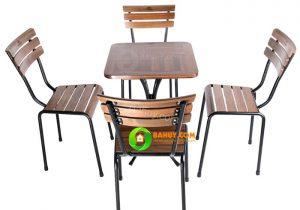 Thanh lý bàn ghế gỗ cafe 4 ghế