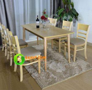 Bộ bàn ăn 6 ghế chân tròn xuất khẩu