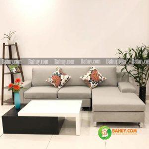 Sofa góc nỉ chân gỗ L màu xám SFL-N-27