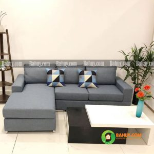 Sofa góc nỉ chân gỗ L màu ghi SFL-N-27