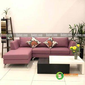 Sofa góc nỉ chân gỗ L màu hồng SFL-N-27