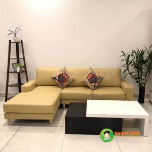 Sofa góc nỉ chân gỗ L màu vàng SFL-N-27
