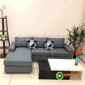 Sofa góc nỉ chữ L màu ghi SFL-N-27
