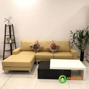 Sofa góc nỉ L màu vàng SFL-N-27