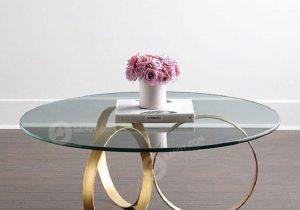 Bàn trà kính khung chân inox cho không gian phòng khách sáng bóng