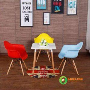 Bàn ghế cafe Eames vuông 80×80 màu trắng